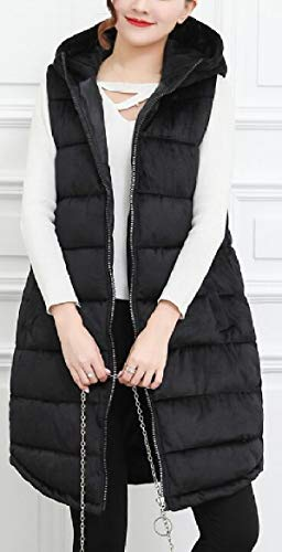 Velvet Black Quilted Hoodie Vests Long Womens Sleeveless Warm security Waistcoats SqxTfwx