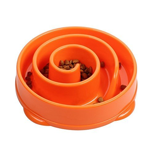 SUNEyeWear Interactive Fun Feeder Slow Feed Interactive Bloat Stop Dog Bowl, Large, Orange