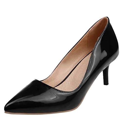 Carolbar Womens Sexy Pointed Toe Candy Colors Stiletto Heel Pumps Shoes (9, Black)