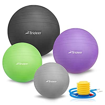 45-85cm Exercise Ball, Birthing Ball, Ball Chair, Yoga Pilate Fitness Balance Ball with Pump Plug Kit, Anti-Slip & Anti-Burst, TRIDEER 2000lbs Extra Thick Core Cross Training Ball for Office and Home