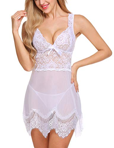 Avidlove Women's Babydoll Lingerie Sexy Bridal Lace Nightgowns Sheer Chemise Boudoir Nighty (Style3-White, Small)