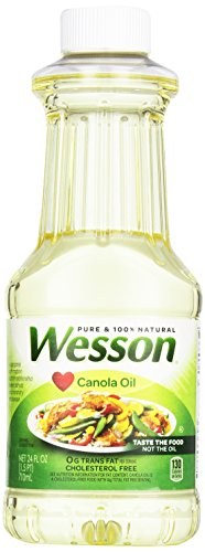 - WESSON Pure Canola Oil, 0 g Trans Fat, Cholesterol Free, 24 oz.