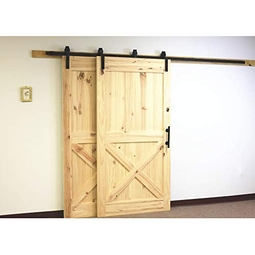 Vancleef 4-20FT Single Track Bypass Door Kit Sliding Barn Door Hardware, 5.5FT Track Classic Design, Black Rustic, Interior and Exterior Use, Descriptive Installation Manual Included by Vancleef Hardware (Image #3)