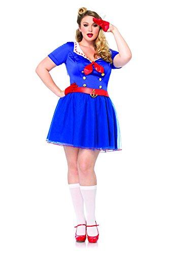 Leg Avenue Sailor Costumes (Leg Avenue Women's Plus-Size 2 Piece Ahoy There Honey Sailor Costume, Blue, 1X/2X)