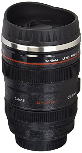 Coffee Mug - Camera Lens Travel Thermos - Stainless Steel Insulated Cup with Easy Clean Lid - 13.5oz - Black - Go with Premium Stainless Steel Spoon - Logo Lense