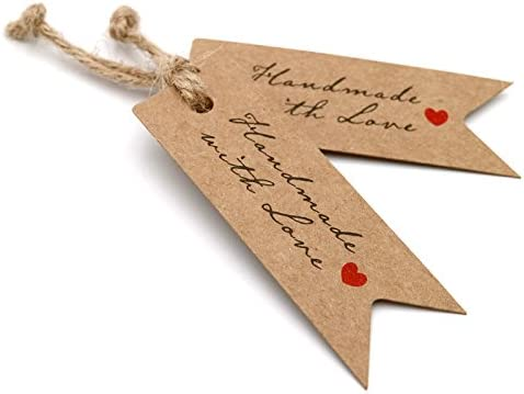 Details about  /Paper Made with Love Paper Labels Kraft Tag Valentine/'s Day Label Hang Tags