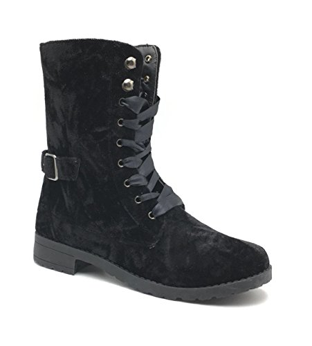 Combat Boots For Women, Womens Winter Boot, Military Lace Up Buckle With Side Zipper, Motorcycle Ankle Booties Girls, Fashion Velvet Shoes For Ladies