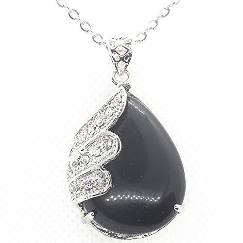 Gemstone Crystals Agate Jasper Reiki Healing Chakra Teardrop Pendant with Stainless Steel Chain Necklace (Black Agate) (Jasper Teardrop Pendant)