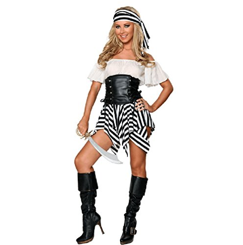 Kyson Women's Halloween Pirate Costumes Striped Fancy Dress for Cosplay