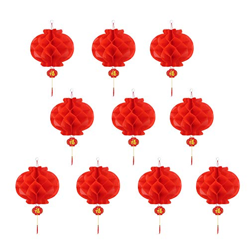 Chinese New Year Red Paper Lanterns New Year, Spring Festival, Wedding, Restaurant Decoration(10 pcs,10 Inch) -