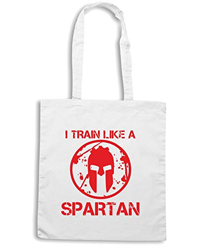 Borsa Shopper Bianca ENJOY0111 I TRAIN LIKE A SPARTAN