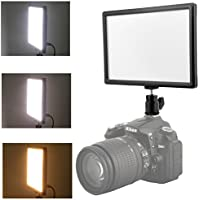 Kamisafe Ultra Thin Dimmable LED Video Photo Light Panel 3200K-6200K with LCD Screen & Hot Shoe Mount Adapter, Adjustable Color Temperature and Brightness, for DSLR Camera Camcorder DV Light Stand