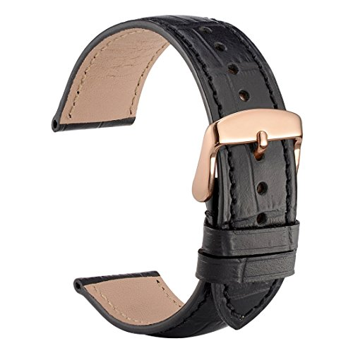 WOCCI 22mm Alligator Embossed Leather Watch Band,Black Replacement Strap with Rose Gold Buckle