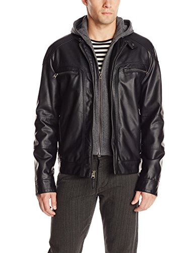 Calvin Klein Men's Faux-Leather Moto Jacket with Hoodie: Amazon.ca ...