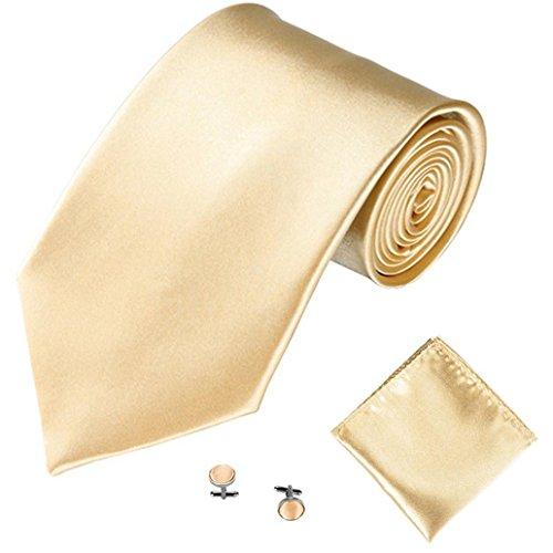 Braceus Men's Fashion Solid Color Suits Ties Necktie Cufflinks Hanky Set Tuxedo Suit (Champagne) -