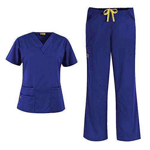 WonderWink Origins Women's 6016 Bravo Top & 5026 Romeo Pant Medical Uniform Scrub Set (Galaxy Blue - Medium)