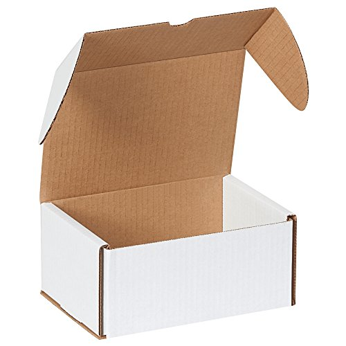 Boxes Fast BFMLRDVD6 Corrugated Cardboard DVD Mailers, 7 5/8 x 5 7/16 x 3 9/16 Inches, Outside Tuck, One-Piece Shipping Boxes, Capacity 6 DVDs, Small White Mailing Boxes (Pack of (Outside Tuck Corrugated Mailer)