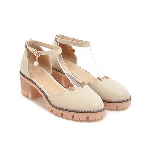 No Toe ASL04603 BalaMasa Beige Round Womens Sandals Huarache Bridal Trail Closed Solid Toe Fabric Sandals Closure 6wtItWqa