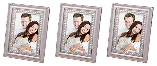 FashionCraft. Set of 3 Matte Silver Metal Place Card/Photo Frames Bundled by Maven Gifts ()