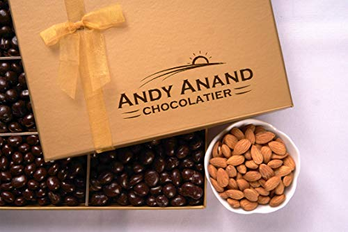 Andy Anand's Chocolates - Premium California Almonds covered with Gourmet Chocolate in Gift Basket, All-Natural and Certified Made from Natural Ingredients (1 - Nuts Premium Gourmet Almonds
