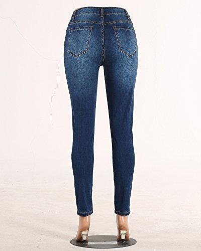Donna Pantalone immagine Skinny Stretti Come Jeans Vita Jeggings Blu ZongSen Ghette Elastici Retro Pantaloni Alta dq67wxdfZ