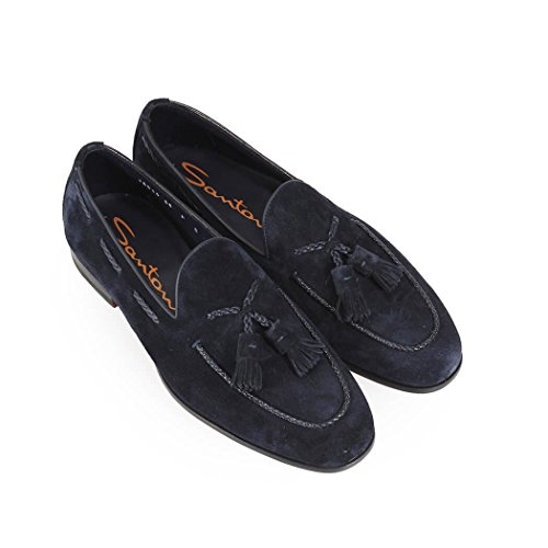 de Azul Santoni Ante Borlas Verano con Zapatos Hombre Primavera 2018 Mocasín dUxqYFq0w