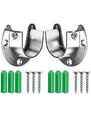 "Wardrobe Bracket Heavy Duty Stainless Steel Rod Socket Flange Rod Holder Closet Rod End Supports, 1-1/3"" Diameter,U Shaped,Easy Installation Quick Removal Support 200KG-2pcs."