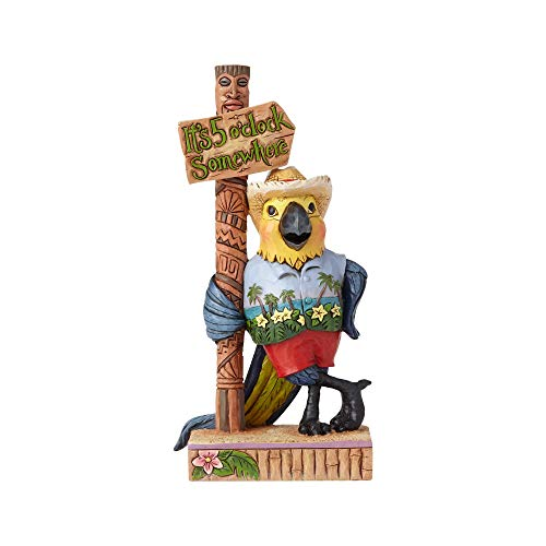 Enesco Margaritaville by Jim Shore Parrot Sign Post Figurine, 6