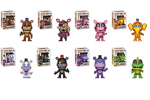 Funko Pop Five Nights at Freddys Pizza Simulator Bundle of 8 Orville Elephant, Happy Frog, Lefty, Rockstar Foxy, Rockstar Freddy, Pigpatch, Helpy, and Mr. Hippo Vinyl Figures