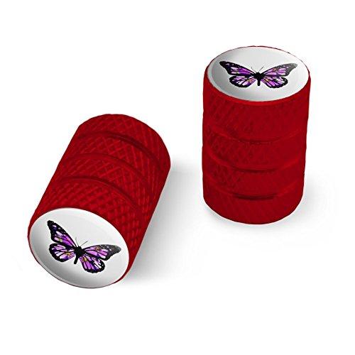 オートバイ自転車バイクタイヤリムホイールアルミバルブステムキャップ - 赤花と蝶