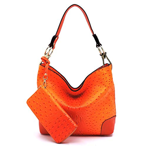 2 PC Set Ostrich Croco Embossed Vegan Faux Leather Hobo Shoulder Bag Classic Bucket Purse with Matching Wallet (ORANGE)