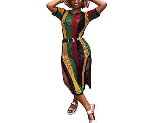 (Womens Girls Summer Fashion Stripe Knitted Sweater Hollow Holes Split Overall Party Club Maxi Beach Dress Sundress Cover Up XXL )