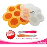 Gotrone Baby Food Silicone Storage - Freezer Tray And Lid With 2 Free Soft Feeding Spoons Set - Ease Your Life WIth Your Baby - BPA Free, FDA Approved, Latex Free, Dishwasher Safe