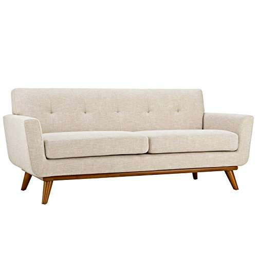 Modway Engage Mid-Century Modern Upholstered Fabric Loveseat in Beige