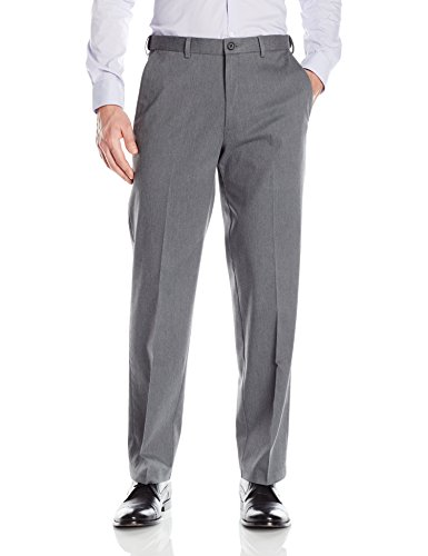 Haggar Men's Premium No Iron Classic Fit Expandable Waist Plain Front Pant, Charcoal Heather, 38Wx32L
