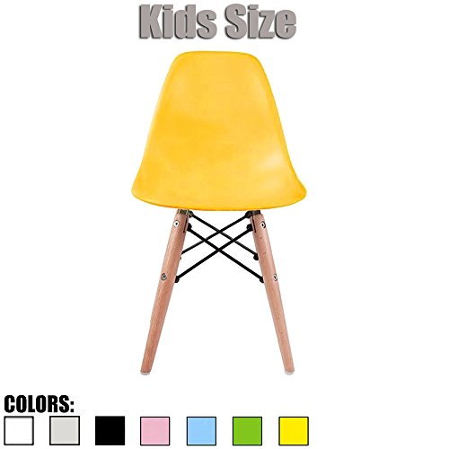 2xhome - Yellow - Kids Size Eames Side Chair Eames Chair Yellow Seat Natural Wood Wooden Legs Eiffel Childrens Room Chairs No Arm Arms Armless Molded Plastic Seat Dowel Leg by 2xhome