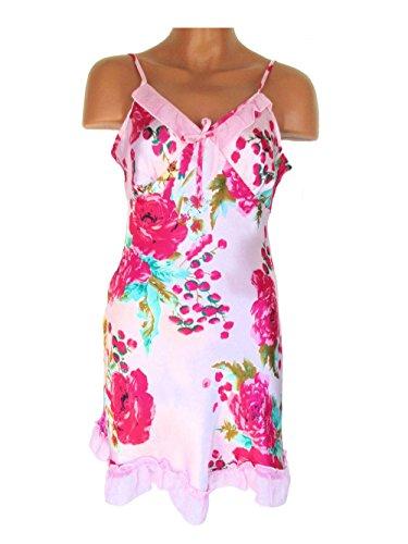 Seiden Negligé, Nachthemd aus 65 % Seide + 35 % Viskose mit Blumenmuster, rosa