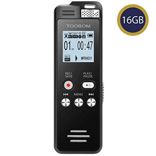 TOOBOM 16GB Digital Voice Recorder Voice Activated Recorder Playback - 2019 Upgraded Sound Audio Recorder Dictaphone Line in Lectures,Meetings,Conversation,Interviews,1536kbps
