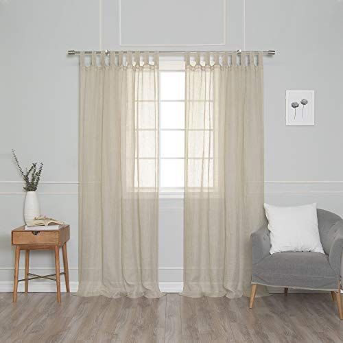 Best Home Fashion Brittany French Linen Tab Top Curtain - Natural - 52