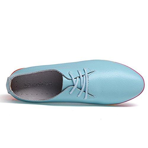 para 2 DoraTasia Cordones de Cuero Mujer de Zapatos Blue TCxfqAw