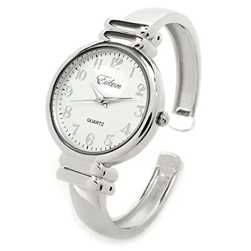 (Silver Metal Band Slim Case Women's Bangle Cuff Watch)