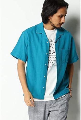 (ikka) 麻混ピケオープンカラーシャツ