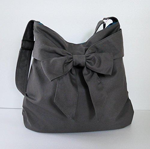 Virine grey shoulder bag, cross body bag, messenger bag, everyday bag, handbag, travel bag, tote, bow, women - JENNIFER by Virine