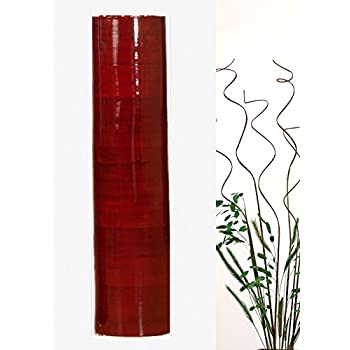 """Green Floral Crafts 27"""" Bamboo Cylinder Floor Vase with Branches and Botanicals - Mahogany Red"""
