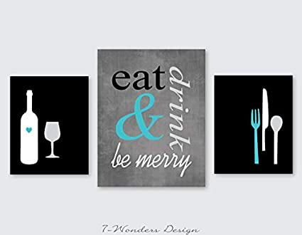 Amazon Com Burkewrusk Eat Drink And Be Merry Modern Kitchen