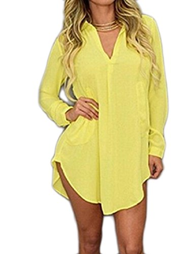 Long Dress Sleeve Coolred V Pullover Tops Women Yellow Neck Chiffon Over Sized BIwwfqFp