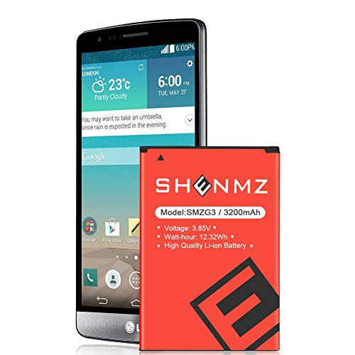 SHENMZ LG G3 Battery Upgraded,[3200mAh] Replacement Li-Ion Battery for LG G3 BL-53YH D852, D855, D850 at&T, D851 T-Mobile, VS985 Verizon, LS990 Sprint | LG G3 Spare Battery (24 Month Warranty)