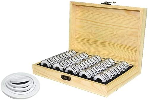 Tamkyo Caja de Almacenamiento de 50 Monedas Caja de Madera Para Guardar Moneda Redonda Caja de Colección de Moneda Conmemorativo Caja de colección lavadoras Conmemorativo Cajas de almacenamiento Caja de colección: Amazon.es: