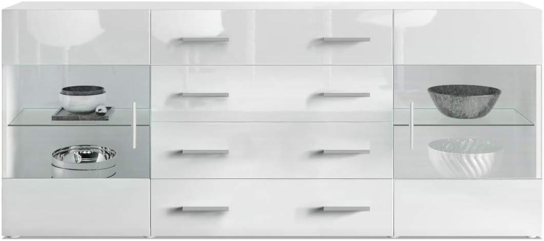 Aparador C/ómoda Bari V2 Cuerpo en Blanco Mate//Frente en avola Antracita