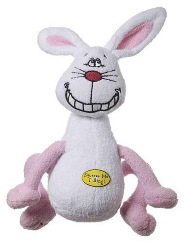 New Multipet Deedle Dude Singing Rabbit Plush Dog Toy